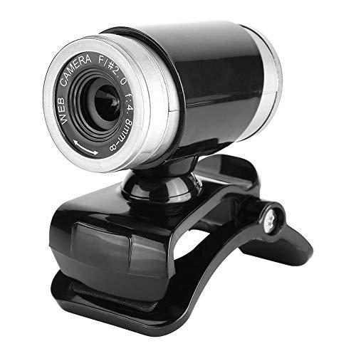 VIFER Webcam Clip-on 360 Graden USB Computer Cam 12 Megapixel HD Web Camera met Microfoon, 1 PC, Zwart+Zilver