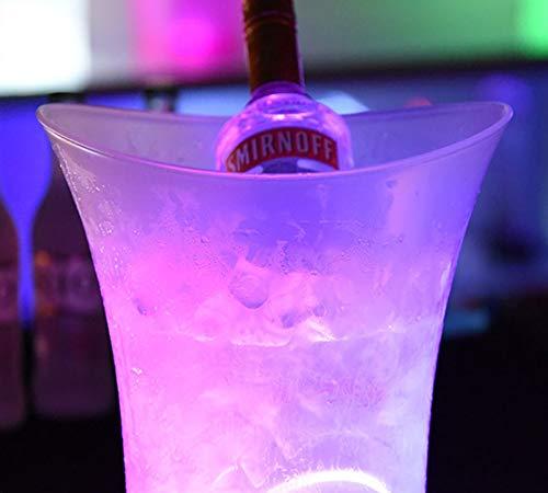 ECOJAS LED Eiskübel Farbwechsel Kühler Eimer RGB Champagner Kühler Runde Flaschenkühler Glühende Weinkühler Eisbehälter Bar Getränkekühler Bier Eimer Sektkühler LED Für KTV,Party,Hause(5 L) (5L)