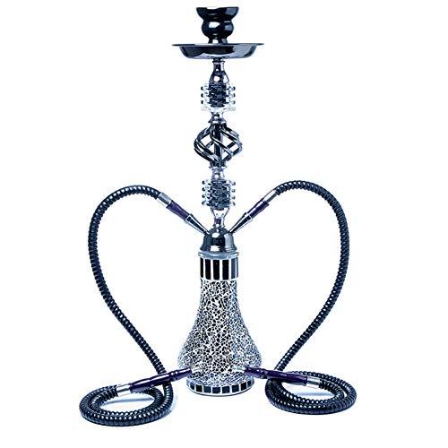 Araber Wasserpfeifen Shisha Hookah Mit 2 Schläuchen Ca.55Cm Inkl. Kohlezange Und Zubehör NEU Mosaik Hookah,Schwarz