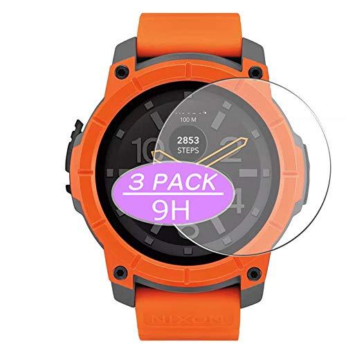 Vaxson 3 protectores de pantalla de vidrio templado compatible con Nixon The Mission Watch Film Protectores 9H película protectora Smartwatch Smart Watch