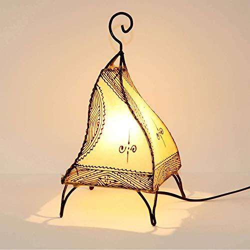 Marrakesch Fatuta blanco - Lámpara de henna de piel marroquí (35 cm, estructura de metal forjada a mano, pantalla de piel pintada a mano) | L1003