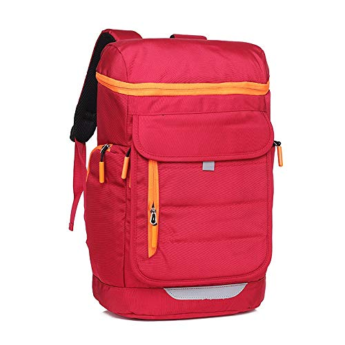 Ang-xj The new canvas backpack unisex solid color backpack fashion leisure travel bag waterproof,breathable,anti-theft,wear-resistant, lighten,shock-resistant air cushion strap (Color : Red)
