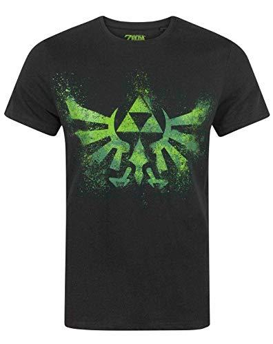 Zelda Manga Corta de la Camiseta Triforce Verde Hombres del Logotipo de Negro