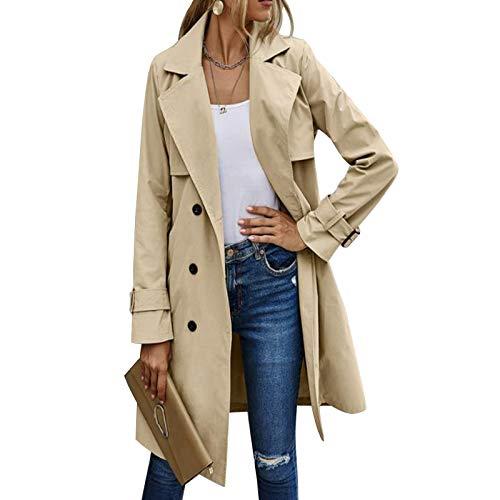Gabardina de Doble Botonadura para Mujer con Blet Abrigo de Solapa Medio Largo clásico Abrigo clásico de otoño Invierno (Khaki, M)