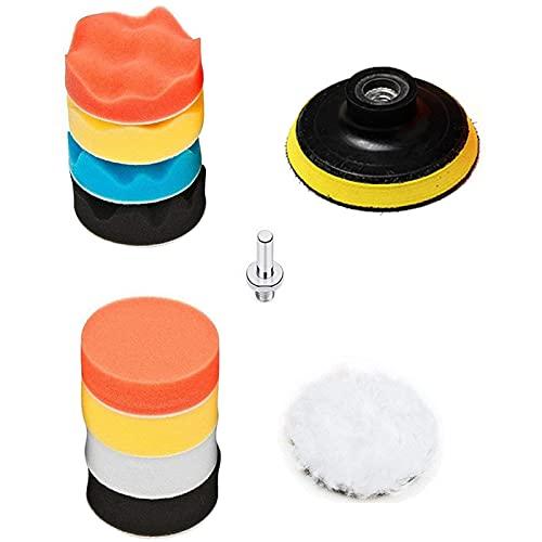 XIAOMAOMAO Esponja Pulir para Coche, Kit de Esponja de Pulido, Adaptador de Taladro y Almohadillas de Cera de Lana