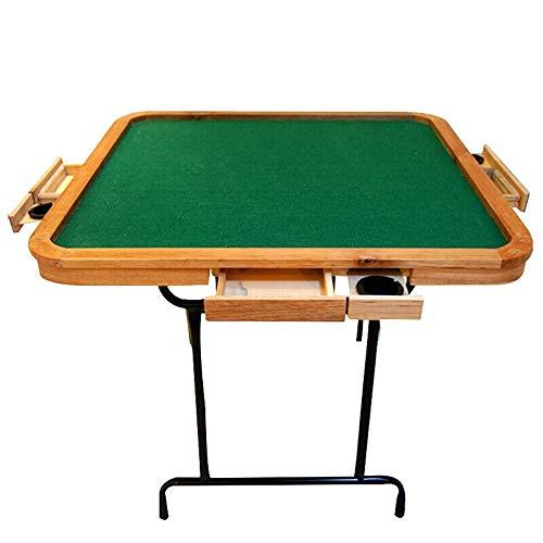 LIUXING Mahjong Spieltisch Folding Mahjong Tabelle Handbuch Holz Steel Pipe Einfache Schlafhaushalts Schach Tabelle Schach Tabelle (Farbe : Wood, Größe : 90X90X75cm)