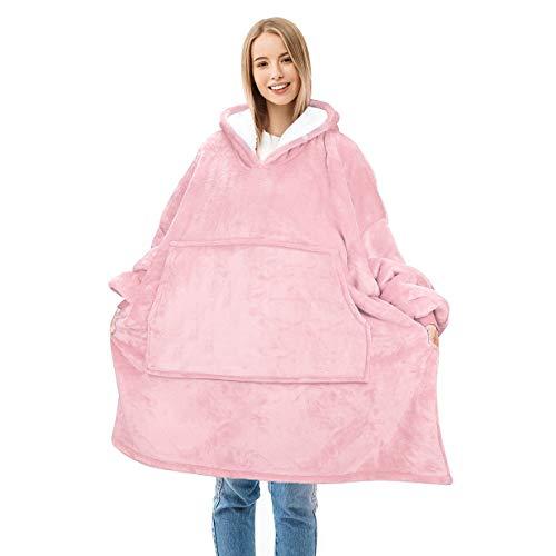 Catalonia 着る毛布 ポンチョ フード付き パーカー もこもこ かわいい 冬 ルームウェア 防寒 ガウン 暖かい 部屋着 レディース メンズ 着丈96cm ピンク