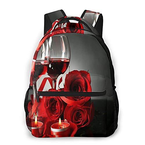 CVSANALA Multifuncional Casual Mochila,Composición con vino tinto en copas, rosa roja y corazón decorativo,Paquete de Hombro Doble Bolsa de Deporte de Viaje Computadoras Portátiles