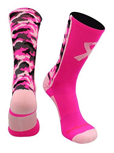 MadSportsStuff Pink Ribbon Awareness Camo Crew Socks (Neon Pink/Pale Pink, Large)