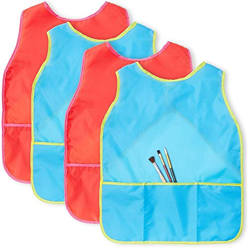 Kids Apron, Waterproof Smock for Painting and Crafts (Red and Blue, 4 Pack)