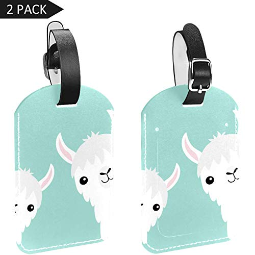Luggage Tags Two Cute Llama Leather Travel Suitcase Labels 2 Packs