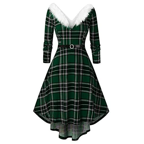 Women's Vintage Christmas Dresses Elegant Floral Flare Knee Length Vintage Dress Evening Party Casual Swing Dresses