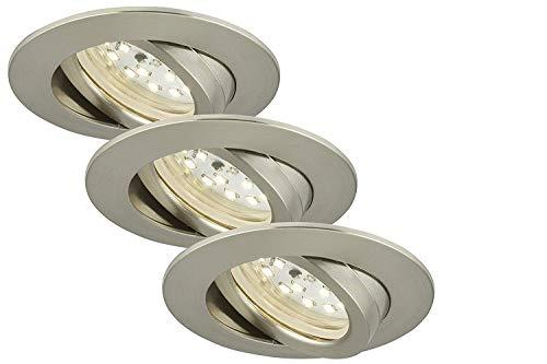 Preisvergleich Produktbild LED-Einbauleuchte 3er Set 15 W Neutral-Weiß,  Tageslicht-Weiß,  Warm-Weiß Briloner 7260032 Nickel (matt)