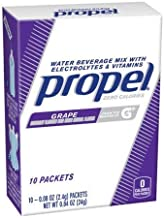 Propel Grape Water Beverage Mix with Electrolytes & Vitamins, 0.08 oz, 10 count (3 Pack)