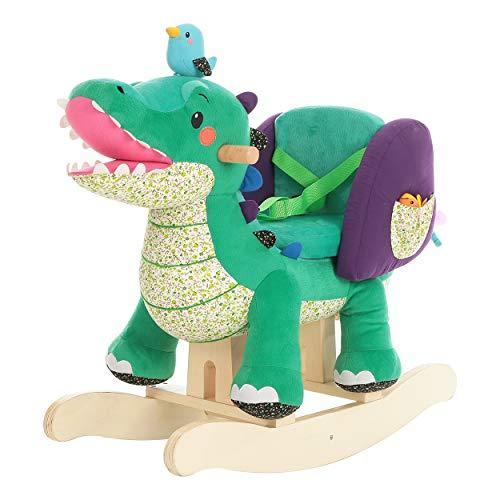 labebe Plüsch Schaukelpferd Spielzeug - Grünes Krokodil, hölzernes Schaukelpferd für Kinder 1,2,3 Jahre, Geschenk für Kinder