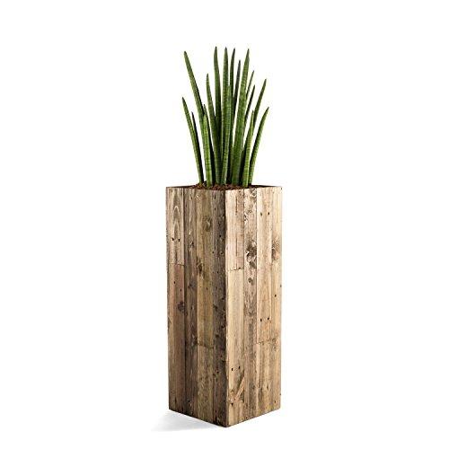 """Pflanzkübel """"Woodline High Cube"""" Dark Flame Wood Eckig Hoch Holz - 94x33.5x33.5cm - F468"""