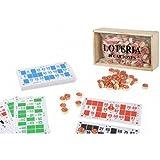 Caja con Lotería de Madera y 48 Cartones y 90 fichas de 2 Caras.