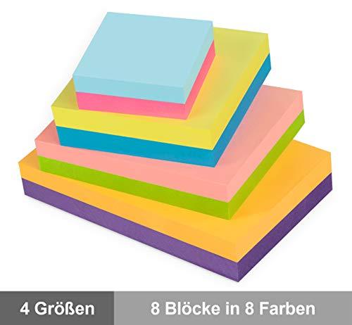 8er Pack Haftnotizen Set, 4 Größe 8 Farbige Bunte Klebezettel Haftnotizzettel zur Erinnerung, Mini Selbstklebende Notizzettel bunt Sticky Notes für Büro Studenten, 8 Blöcke à 100 Blatt