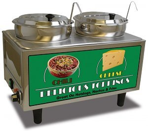 Benchmark 51072A Party Occasion Chili & Cheese Warmer 2 Ladles/Lids