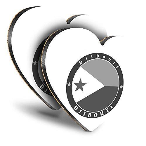 Destination Vinyl ltd Great Posavasos (juego de 2) corazón – BW – Bandera africana de Yibuti Viajes África Bebida brillante Posavasos/protección de mesa para cualquier tipo de mesa #40128