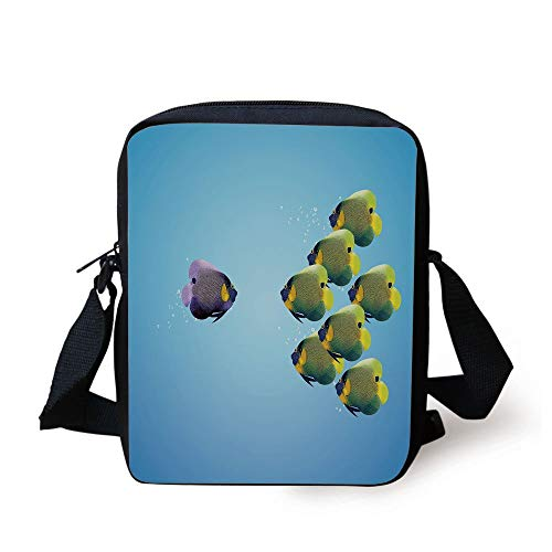 FFLISHD Aquarium,Purple Angelfish Leading the Yellow Group Be Different Inspirational Decorative,Light Blue Yellow Purple Print Kids Crossbody Messenger Bag Purse