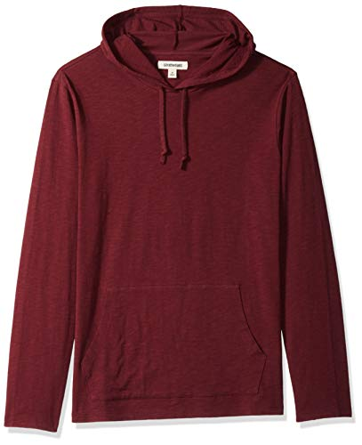 Goodthreads Men's Lightweight Slub T-Shirt Hoodie, Burgundy, Medium