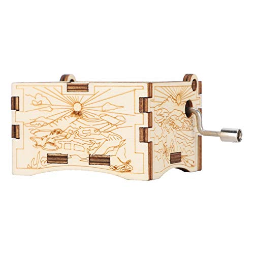 Caja de música de madera artesanal vintage, caja de música con manivela, decoración del hogar para niños Caja de música de bricolaje cumpleaños/Navidad/vacaciones