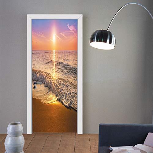 XLXYD deursticker, afbeeldingen, landschap, zonsondergang, beach, plantenlandschap, deurposter, 3D-deurstickers, decoratiefolie, zelfklevend, deurfoto, deurstickers, groen blad, afbeelding, doe-het-zelf, afmetingen 77 x 200 cm A5