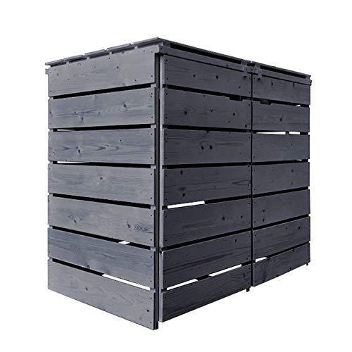 Lukadria Mülltonnenbox Mülltonnenverkleidung Mülltonnecontainer Holz 120L - 240L vorimprägniert in anthrazit mit Rückwand Alster (2 Tonnen)