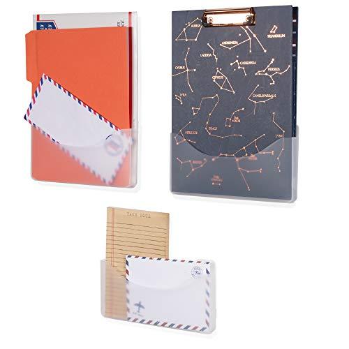 Wandregal Origami, Wandaufhängung, Ordner, Büro-Organizer und Wandmontage, mattiert, transparent, 3 Stück