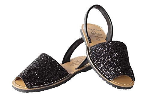 Avarca Menorquina- 275GLI1 Damen Sandalen Leder, Schwarz - Schwarz  - Größe: 37 EU