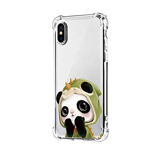 "Neivas Coque Compatible Pour iPhone XS/XS Max/XR,Clair Souple TPU Gel Silicone Crystal Transparente Panda Motif Ultra Mince Anti Choc Protection Étui Housse iPhone XS Max 6.5"" (Panda 7, iPhone XS Max)"