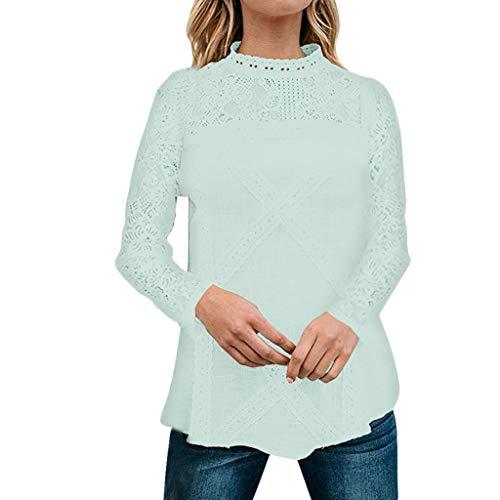 Kapian Elegant Damen T-Shirt Spitze Langarmshirt Herbst Winter Spitzenshirt Top Bluse Shirt Tunika...