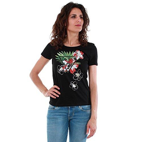 Guess W72I50JA900, T-Shirt Donna, Nero (Jet Black W/ Frost G), L