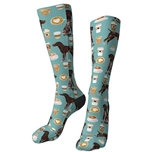 German Shorthaired Pointer Coffee Diseño dulce Perros Custom Thick Warm Crew Calcetines Mid Calf Dress Calcetines Casual Invierno Long Calcetines para hombres mujeres
