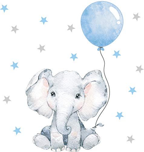 Pandawal Wandtattoo Baby Elefant mit Luftballon Safari Wandaufkleber für Junge und Mädchen Kinderzimmer Deko Wandsticker Blau (S)