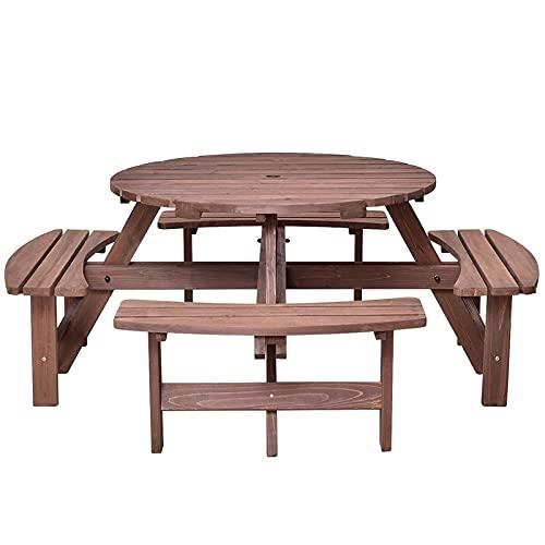 CHENGSYSTE Set di mobili da Patio Set da Tavolo da Picnic con Panca in Legno, 4 Adulti o 8 Bambini Tavolo Rotondo all'aperto con ombrelli Hold Design, per Giardino all'aperto