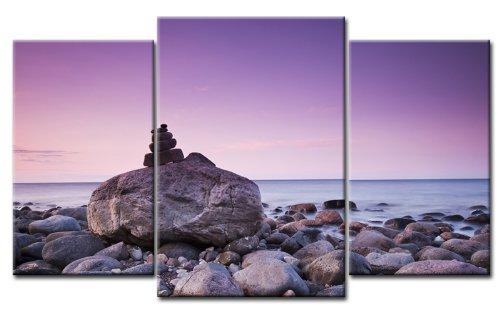 TOP Quadro su Tela pietre sulla spiaggia{3} pezzi Art-Nr, M30336 yizz foto pronta da appendere su telaio. Stampa artistica su telaio. Pittura ad olio Poster con cornice enorme! Economico MADE IN GERMANY