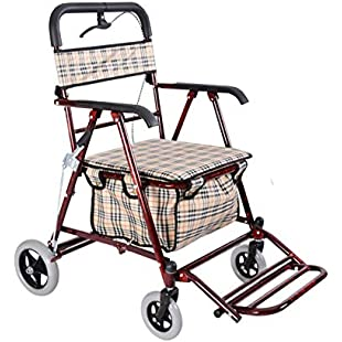Hand Cart Outdoor Folding Elderly Rollator Walker Portable Collapsible Grocery Shopping Cart Trolley with Wheels & Brake & Seat