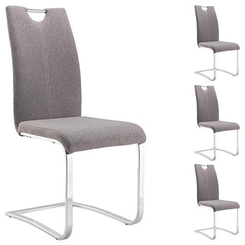 IDIMEX Esszimmerstuhl Schwingstuhl SABA, Set mit 4 Stühlen, Metallgestell verchromt, Bezug Stoff in grau