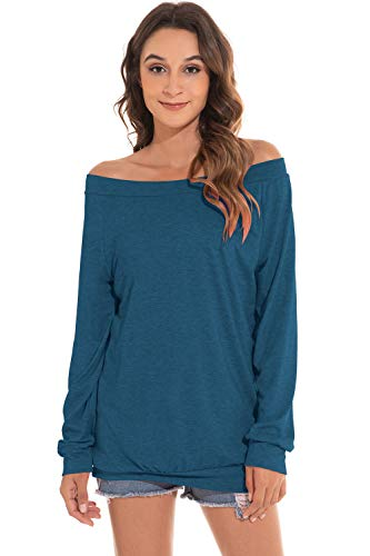 heekpek Camiseta Mujer de Manga Larga Blusa con Hombros Fríos Camisa Sexy Casual Camisetas Pullover Algodón Color Sólido Otoño Invierno Tops