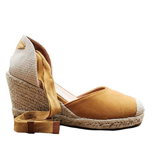 Angkorly - Damen Schuhe Sandalen Espadrille - Strand - Böhmen - romantisch - Geflochten - mit Stroh - String Tanga Keilabsatz 8 cm - Camel 3 FB-152 T 41