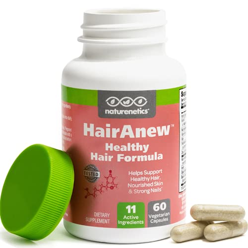 naturenetics HairAnew Hair Growth Vitamins for Thicker Stronger Hair| Works for Women Men | All Hair Types | 11 Vitamins & Ingredients | 5000mcg Biotin | Vegan | Independently Tested |60 Capsules (1)