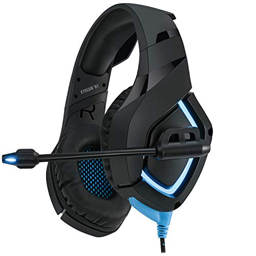 Adesso Xtream G1 - Gaming Headphones with Noise Cancelling Microphone and LED Lighting for PC, PS4, Xbox, Nintendo Switch, and Laptops, Black