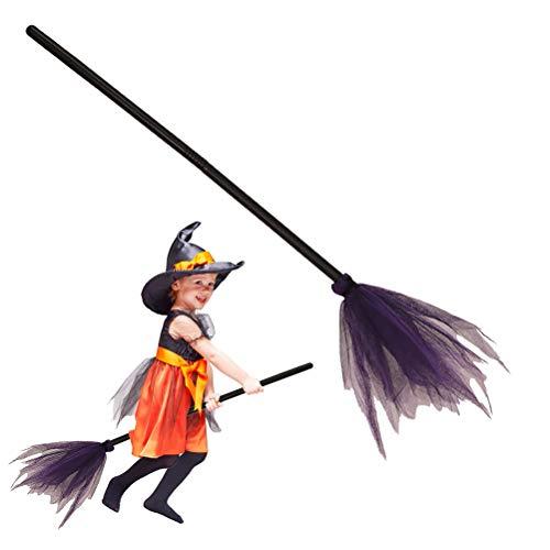 Ysoom heksenbezem toverstuiver Halloween decoratie carnaval accessoire - lengte: ca. 89 cm heksenaccessoire voor kinderen en volwassenen.