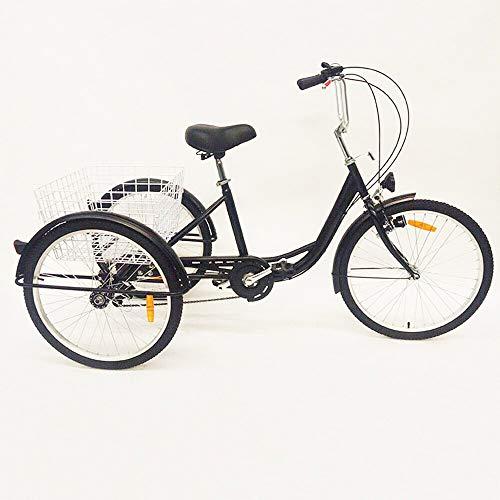 SHIOUCY 24 inch 3 Rad Erwachsene Fahrrad Dreirad Trike Cruise Bike Sattel Flexibel 6 Geschwindigkeit Korb Dreirad Pedal Warenkorb Lastenfahrrad, DHL