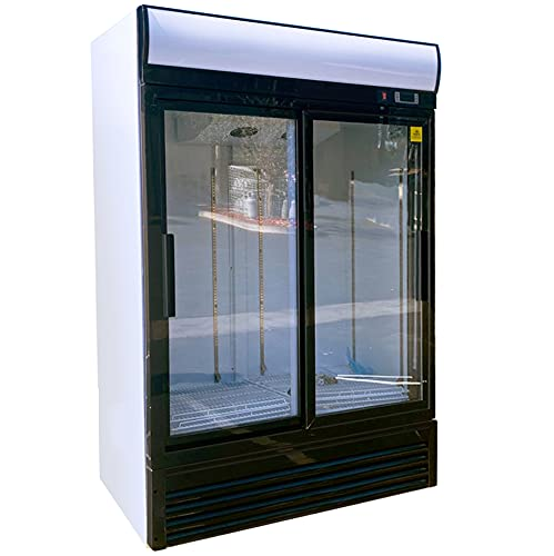 Commercial Refrigerator Glass 2-door Sliding NSF Merchandiser Beverage Display Cooler Reach In Fridge Upright, 1840-Can Capacity 33 cuft, 72'GDM-69Bdup-40BS