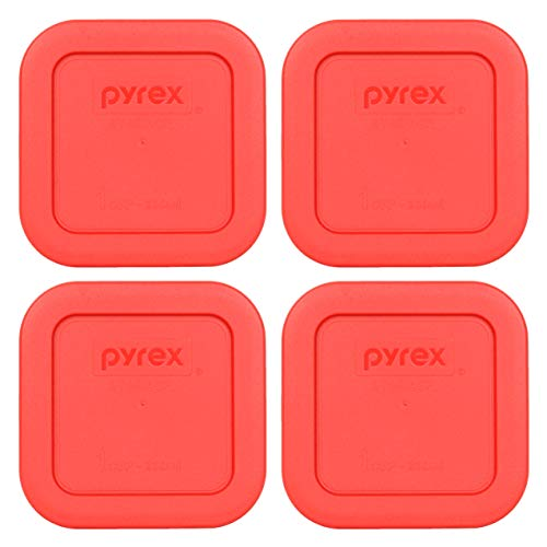 Pyrex 8701-PC 1 Cup Red Square Plastic Lid - 4 Pack