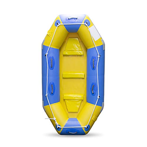 BOATb Heavy Duty Inflatable Raft Boat Inflatable Kayak Dinghy Fishing Set 3 Person Canoe with Paddle...