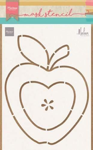 Marianne Design PS8013 Kunst und Handwerk Mask Schablone, Apfel, für Scrapbooking, Kartengestaltun und Papierbasteln, Kunststoff, transparent, 149 x 210 mm